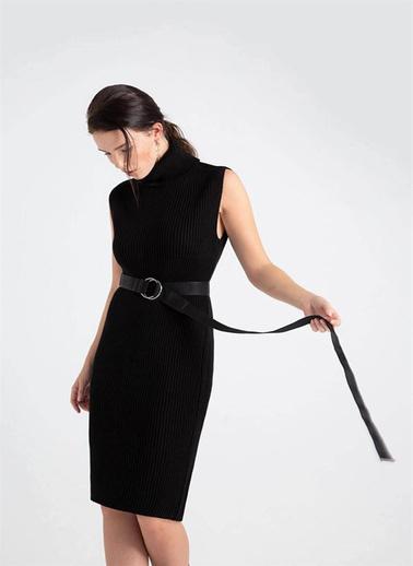 Rue Beli Kemerli Balıkçı Yaka Triko Elbise Siyah